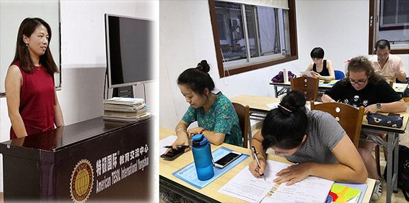 中外学员认真参加考试认证